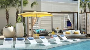 3 outdoor pools, open 8:00 AM to 8:00 PM, pool cabanas (surcharge)