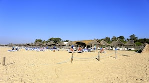 Beach nearby, sun-loungers, beach umbrellas