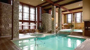 2 indoor pools, a lap pool, open 8:00 AM to 10:00 PM, sun loungers
