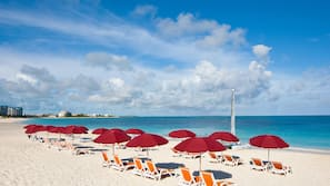 On the beach, free beach cabanas, sun loungers, beach umbrellas
