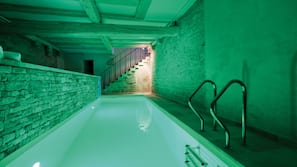 Indoor pool, open 9:00 AM to 8:00 PM, sun loungers
