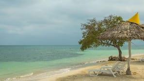 White sand, beach umbrellas, scuba diving, snorkeling