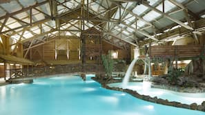 Indoor pool, open 10:00 AM to 6:00 PM, pool loungers