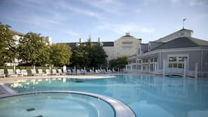 Indoor pool, outdoor pool, open 7 AM to 10 PM, pool loungers