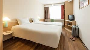 Hypo-allergenic bedding, pillow-top beds, in-room safe, desk