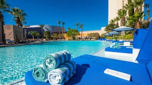 3 outdoor pools, open 8 AM to 6:00 PM, cabanas (surcharge)
