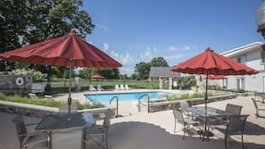 Indoor pool, outdoor pool, pool umbrellas