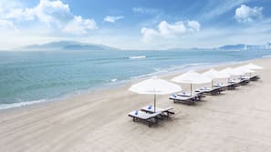 Private beach nearby, white sand, sun-loungers, beach umbrellas