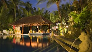 2 outdoor pools, open 7:00 AM to 8:00 PM, pool umbrellas, sun loungers