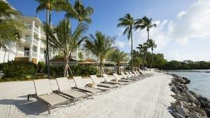 Private beach, sun loungers, kayaking