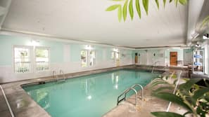 Indoor pool, open 9:00 AM to 11:00 PM, pool umbrellas, sun loungers