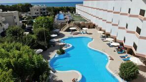 Indoor pool, 3 outdoor pools, open 9:00 AM to 7:00 PM, pool umbrellas