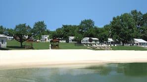 Private beach, beach towels, scuba diving, water skiing