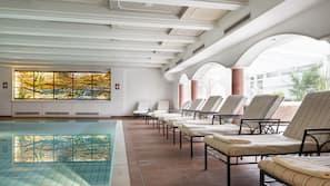 Indoor pool, outdoor pool, open 7:30 AM to 7:00 PM, pool umbrellas