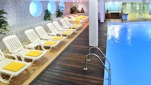 Indoor pool, outdoor pool, open 10:00 AM to 8:00 PM, pool umbrellas