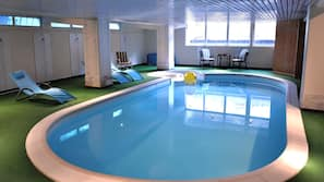 Indoor pool, open 7:30 AM to 9:00 PM, sun loungers