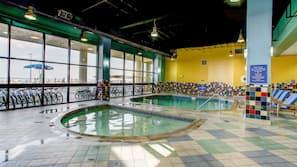 Indoor pool, seasonal outdoor pool, sun loungers