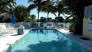 Outdoor pool, open 9:00 AM to 5:30 PM, pool umbrellas, pool loungers