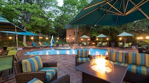 2 outdoor pools, open 9:00 AM to 10:00 PM, pool umbrellas, sun loungers