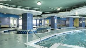 Indoor pool, 2 outdoor pools, open 8 AM to 10 PM, pool umbrellas