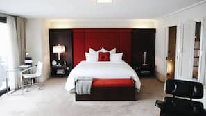 Pillow-top beds, free minibar items, in-room safe, desk