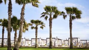 Yksityinen ranta, maksullisia cabanoita, aurinkotuoleja, aurinkovarjoja