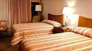 Blackout drapes, iron/ironing board, free WiFi, alarm clocks