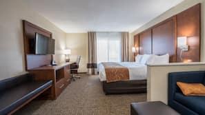 Premium bedding, down comforters, pillowtop beds, desk