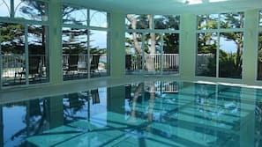 Indoor pool, open 8 AM to 9:30 PM, free pool cabanas, pool loungers