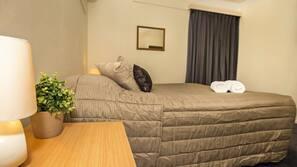 Desk, iron/ironing board, free WiFi, alarm clocks