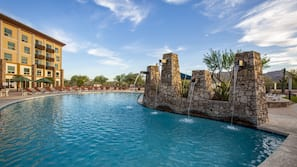 Outdoor pool, open 7:00 AM to 11:00 PM, pool umbrellas, sun loungers