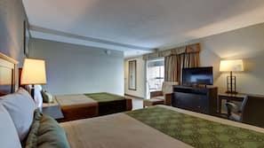1 bedroom, hypo-allergenic bedding, desk, iron/ironing board