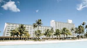 On the beach, sun loungers, beach towels, scuba diving