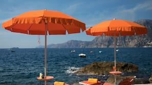 Beach nearby, beach umbrellas, beach towels