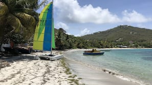 On the beach, white sand, snorkeling, windsurfing