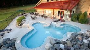 Indoor pool, seasonal outdoor pool, pool loungers