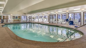 Indoor pool, seasonal outdoor pool, open 8 AM to 10 PM, pool umbrellas