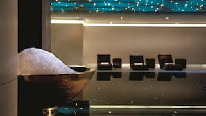 Indoor pool, open 11:00 AM to 8:00 PM, pool loungers