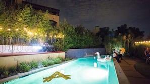 Seasonal outdoor pool, open 10 AM to 10 PM, sun loungers