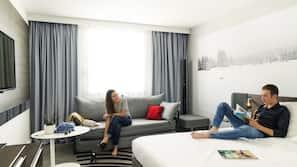 Premium bedding, free minibar items, in-room safe, desk