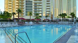 2 outdoor pools, open 9:00 AM to 5:00 PM, pool cabanas (surcharge)