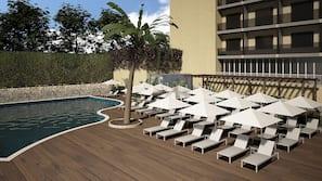 Una piscina al aire libre (de 10:00 a 18:00), tumbonas