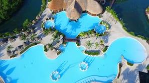 9 outdoor pools, pool umbrellas