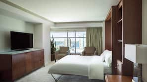 Down comforters, pillowtop beds, in-room safe, desk