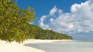 White sand, beach towels, sailing, kayaking