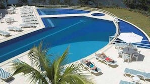 Outdoor pool, sun loungers