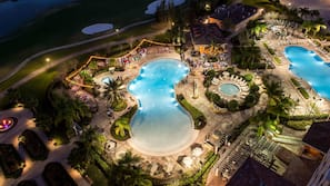 4 outdoor pools, pool cabanas (surcharge)