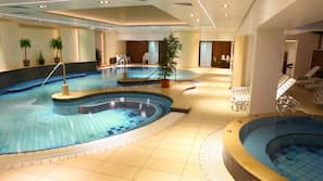 Indoor pool, sun loungers, lifeguards on site