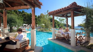 Outdoor pool, open 8 AM to 7 PM, pool umbrellas, pool loungers