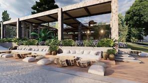 Private beach, free beach shuttle, beach cabanas, sun loungers